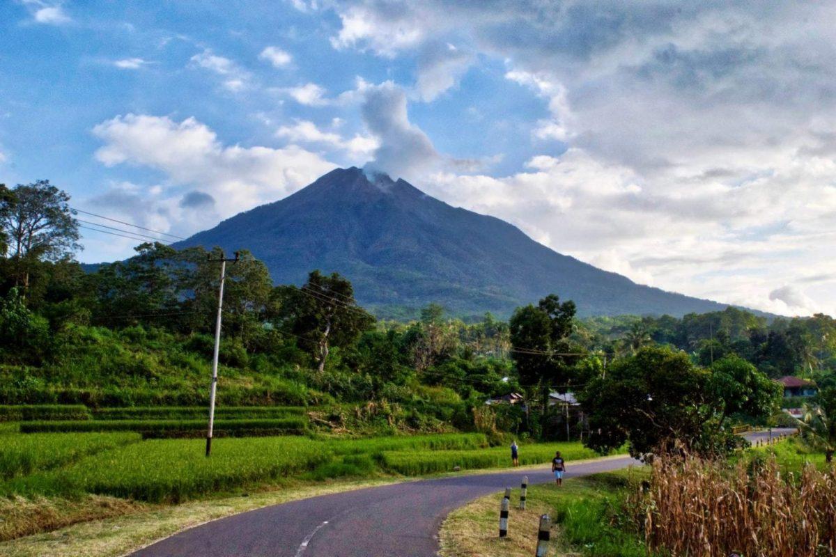 A perfect cone volcano near Bajawa, Flores Island, Indonesia
