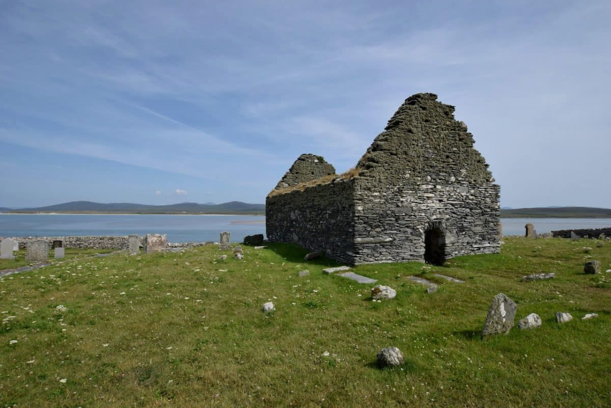 Ruined church with sea beyond
